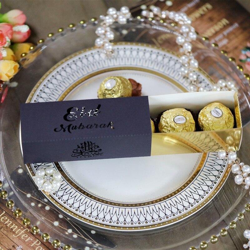 10 pçs eid mubarak caixa de doces ramadan kareem favor caixas de presente diy islâmico muçulmano festival feliz al-fitr eid fontes de festa