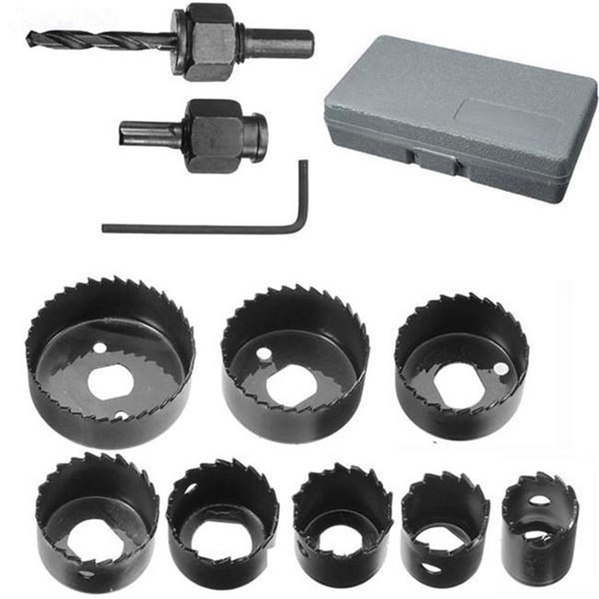 Hot 11Pc DIY Hole Saw Bit Cutting Set Kit 19-64mm Wood Sheet Metal Alloys Wood Metal Sheet Alloys TOOl Parts
