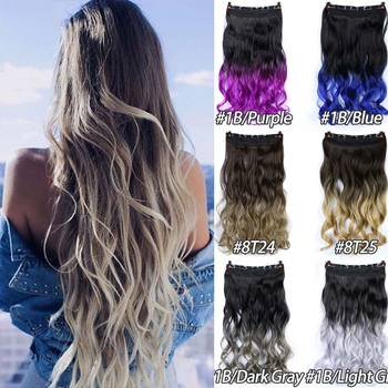MSTN 100g 24 Inch Long Synthetic Curly Wave Clip in Hair Extension Ombre Multi-Color Optional Hair Synthetic Hairpiece elegant long synthetic stylish long shaggy curly clip in hair extension for women