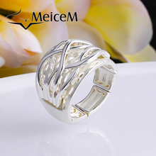MeiceM Fashionable Geometric Rings for Women Lady Party Wedding Dress Classic Enamel Ring Alloy Adjustable Ring Girl Wholesalae