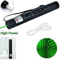 Grün Laser Anblick Laser USB Ladung 303 Pointer Licht 532nm 5mw High Power Gerät Lazer Laser Pen Brennen Firecracke für Jagd