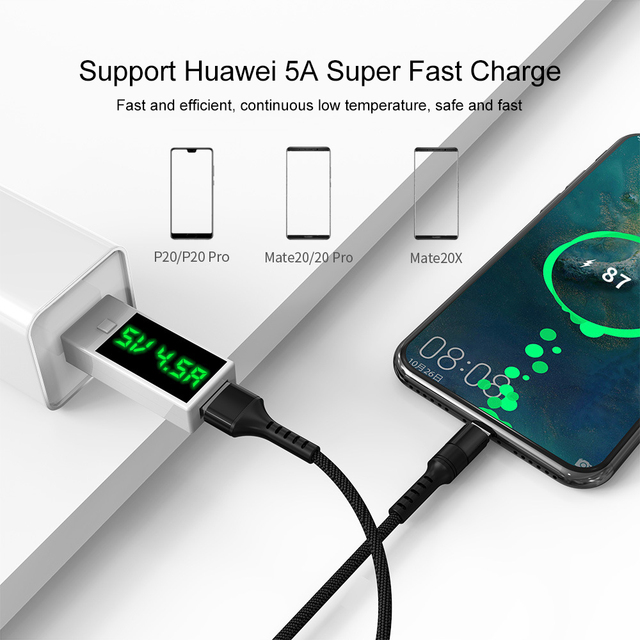 Cabo de carregamento rápido, 5A USB tipo C 0,25 m 1m 2m c cabo para Huawei P30 p20 20 pro telefone super carga QC3.0 USB cabo 2