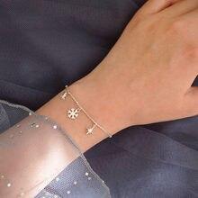 Pulsera con abalorio de copo de nieve para mujer, pulsera de Estrella de Plata de Ley 925, joyería a la moda, S-B121