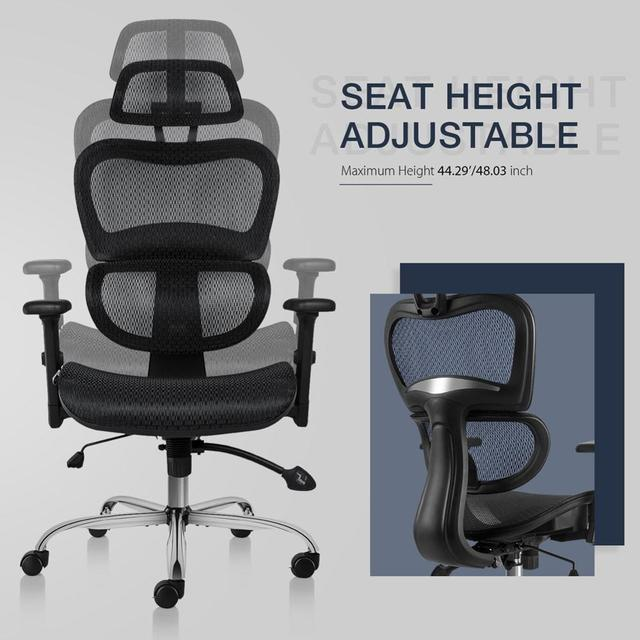 SMUGDESK Ergonomics Mesh Computer office Chair High Back Desk Chair with Adjustable Headrest and Armrest 6