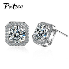 Women 925 Sterling Silver Stud Earrings New Statement Square Cubic Zirconia Romantic Korean Trend Fashion Style Jewelry