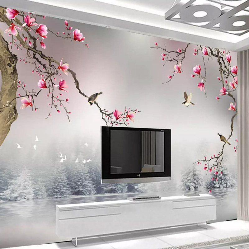 Drop Shipping Custom Photo Wallpaper 3D Stereo Magnolia Flower Bird Chinese Style   TV Sofa Background Wall Painting 3D Decor