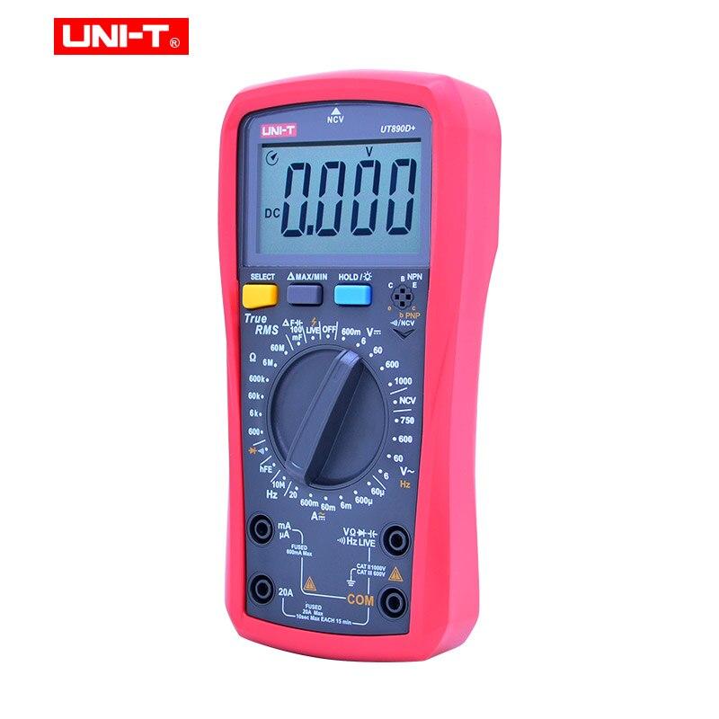 Meter Capacitance UNI DC True NCV Digital ACV LCD RMS AC Measure Resistance UT890D Frequency Voltage Current T Multimeter UT890C