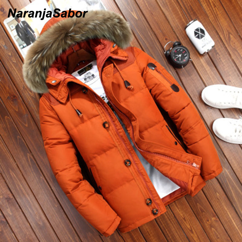 NaranjaSabor Winter Men's Thick Coats Mens Casual Parka Jacket Fur Collar Warm Outdoor Jacket Windproof Male Brand Clothing N623