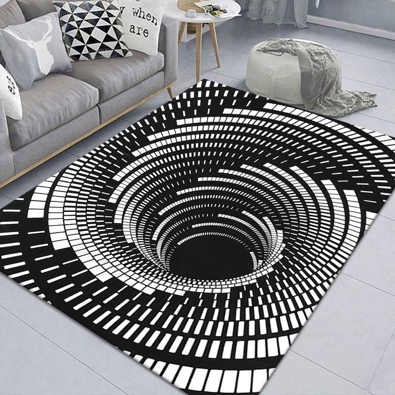 Luxury White Black 3D Geometric Illusion Pattern Area Rug