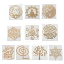 10 pces 6.8cm 7 chakra torre de energia cobre orgonite adesivo flor vida árvore pirâmide resina epóxi material jóias fazendo