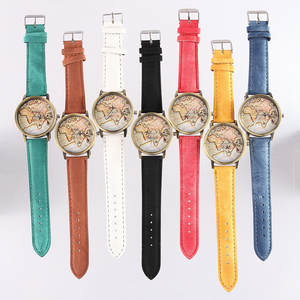 New product recommendation leisure fashion men and women universal personality map of the world quartz Leather Watch