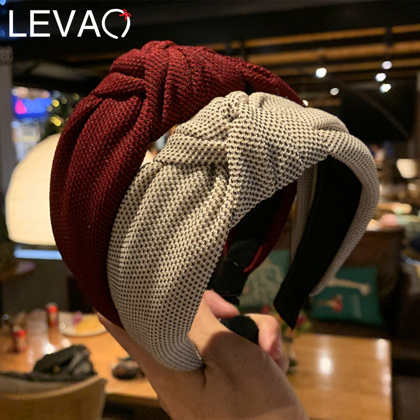 Levao Female Retro Knitting Headband Solid Color Knotted Hairband Head Hoop Simple Wide Knot Hair Hoop Bezel Hair Accessories