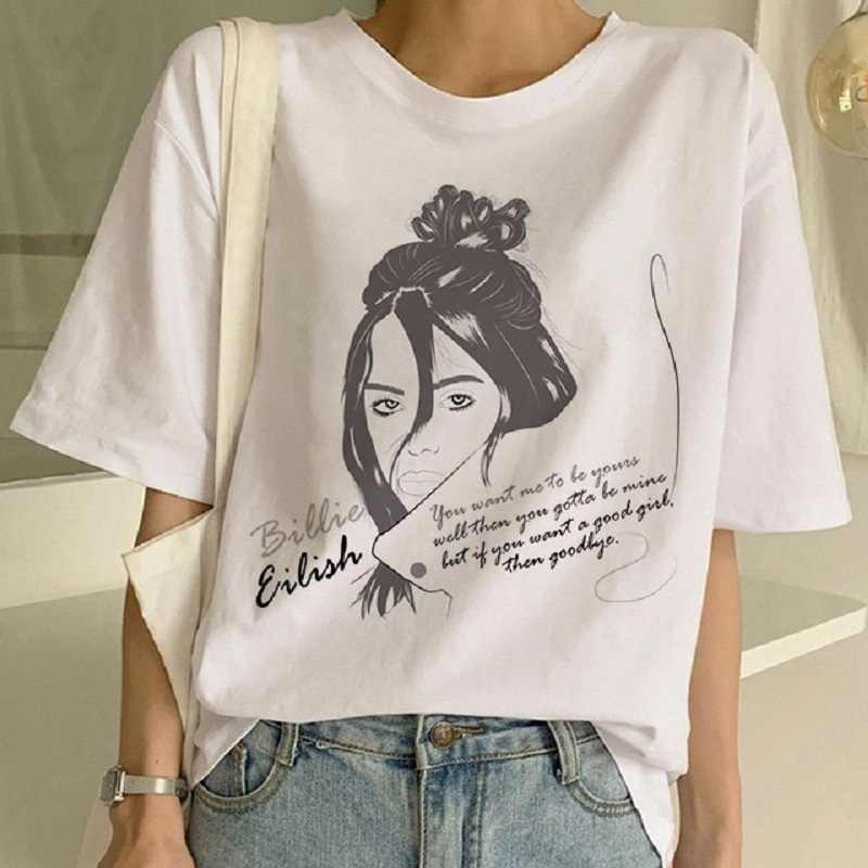 Streetwear Billie Eilish t-shirt women clothes 2019 tshirt femme funny Abstract female shorts sleeve summer tops tee camiseta