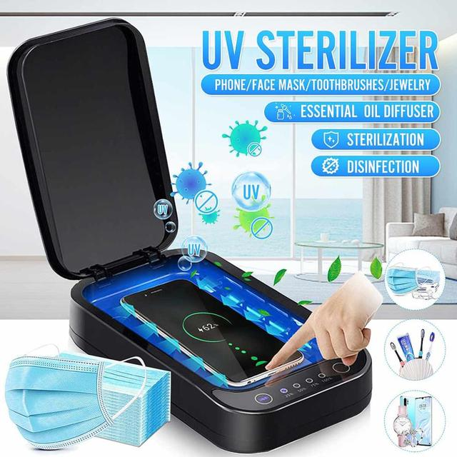 UV Disinfection Box Sanitizer Charger Wireless Charger For Smart Phone Headphones Mask Watch UV Sterilizer Kill 99.9% Viruses