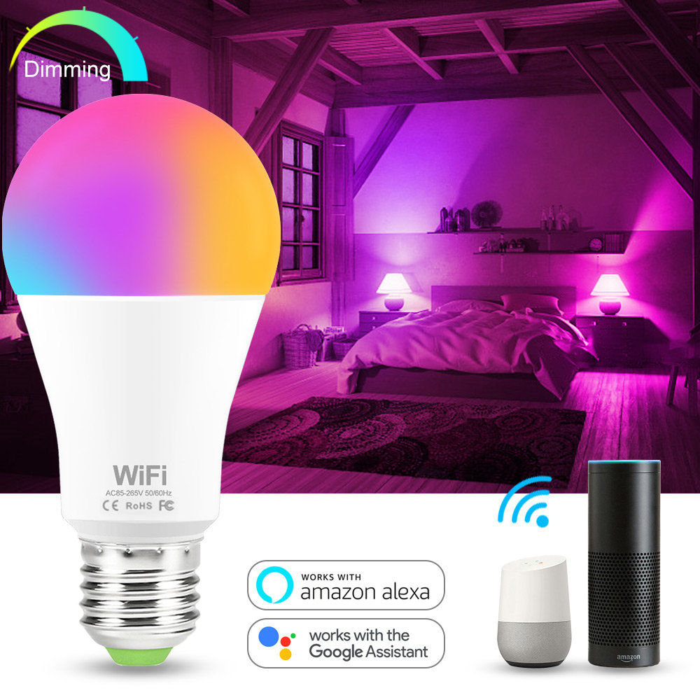 15W RGB Smart Light Bulb Work With Alexa Google Home E27 B22 WiFi Multicolor Dimmable LED Light Bulbs White + RGB Wake Up Light