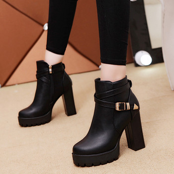 10CM de las mujeres zapatos de invierno lado botas para nieve con cierre Martin piel interior cuadrado con mantener caliente casual salvaje botas