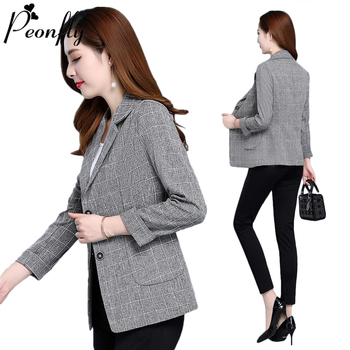 PEONFLY Vintage Single Breasted Blazer Women Fashion Plaid Printed Office Lady Notched Collar Jacket Casual Korean Pocket Coat 1