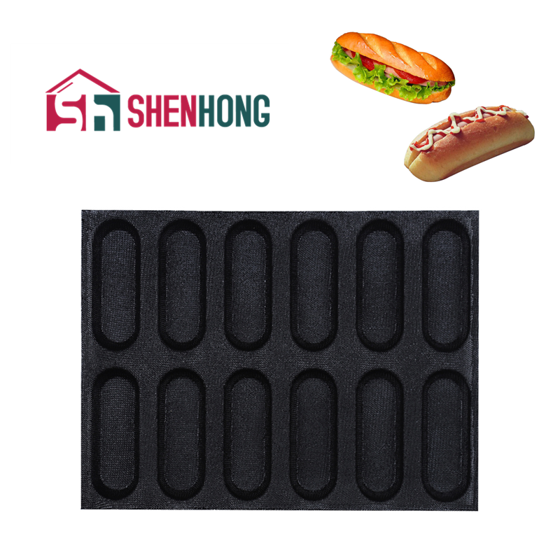 SHENHONG New Arrival Non Stick Glass Fiber Silicone Hot Dog Bread Mold Baguette Loaf Baking Perfored Pan Tart Tray Baking Tools