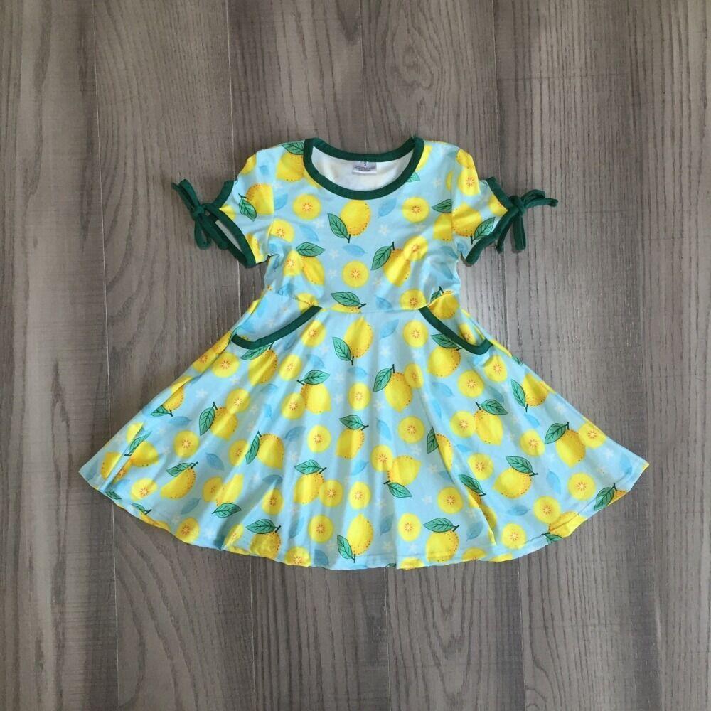 Baby Girls Summer Lemon Dress Girls Blue Dress Girls Cotton Dress