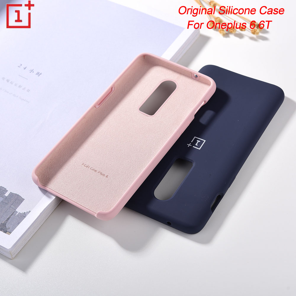 Original <font><b>Oneplus</b></font> <font><b>6</b></font> 6T <font><b>Case</b></font> Liquid Silicone Soft Finish Protective Cover Baby-Skin Silky Touch Shell image