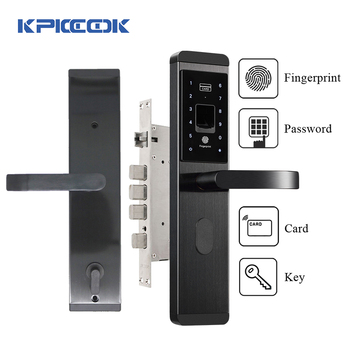 цена на KPIOCCOK Smart Door Lock Stainless Steel Fingerprint Password Lock IC Card Key Wechat Mechanical Biometric Fingerprint Lock X1