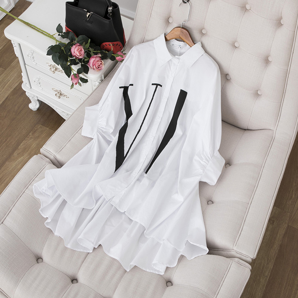Ailigou Summer 2020 New Blouse Ruffled Lapel Design Sense Bat Sleeve Dress Loose Casual Irregular Letter Printed Shirt Vestidos Blouses & Shirts  - AliExpress