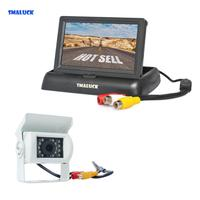 SMALUCK Wired 4.3inch Foldable Rear View Monitor Car Monitor Waterproof CCD Reverse IR Night Vision Bus Truck Camera White