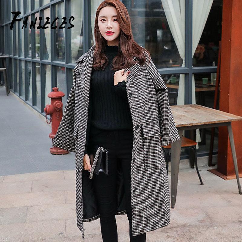 Femmes automne hiver manteaux plaid vêtements décontracté chaud lâche mélange femme unique boutonnage poche bureau dame laine manteau