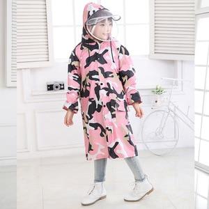 Детский плащ-пончо с капюшоном, нейлоновый Камуфляжный прозрачный плащ с двойной шляпой, непроницаемый пластиковый плащ для детей