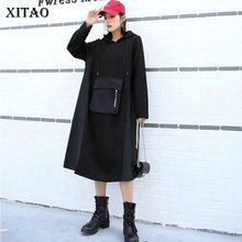 XITAO Europe Style Big Pocket Splice Hooded Dress Women Plus Size A Line Ladies Dresses Long Sleeve Women Clothes 2019 WLD2834(China)