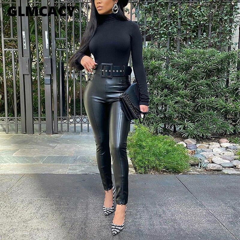 High Waist PU Pant Women Solid Black Skinny Slim Fit Chic Street Wear Plus Size Pencil Pants