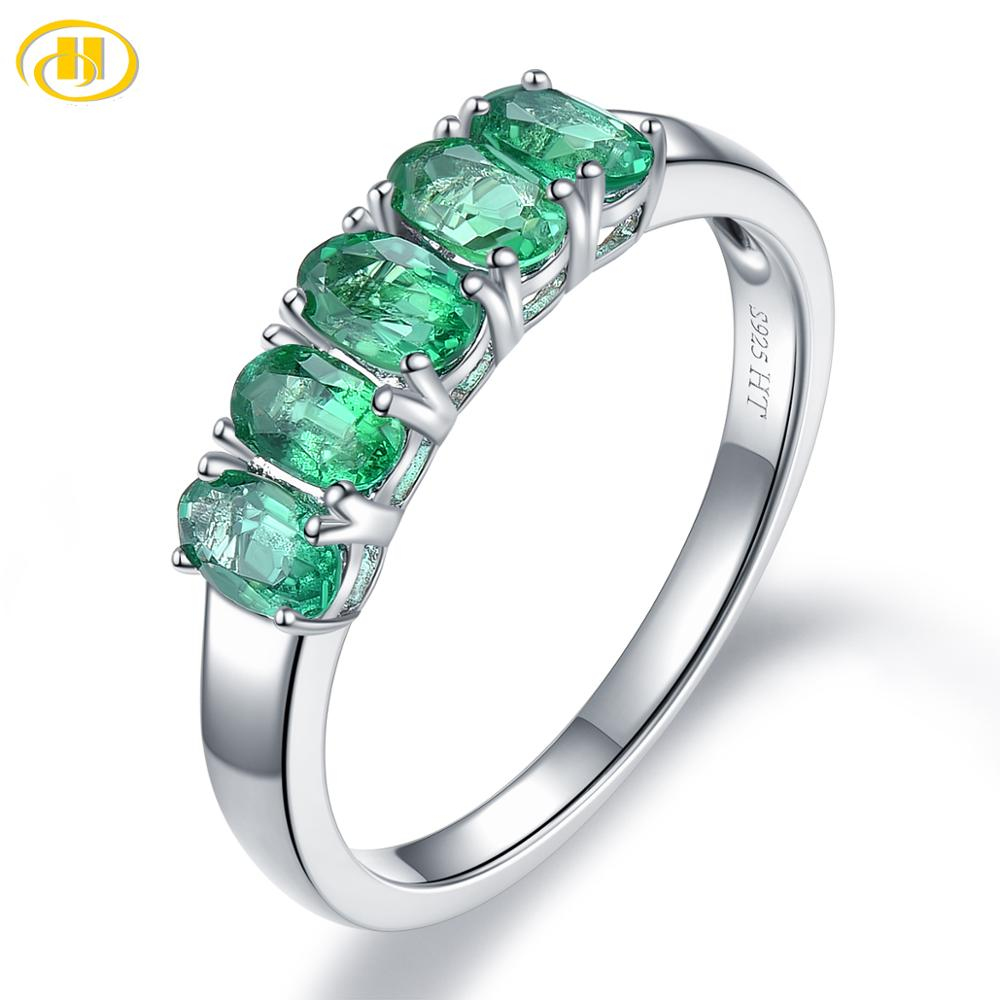 Hutang Precious Emerald Women's Crown Ring 925 Sterling Silver 1.06ct Natural Gemstone Engagement Rings Fine Elegant Jewelry(China)
