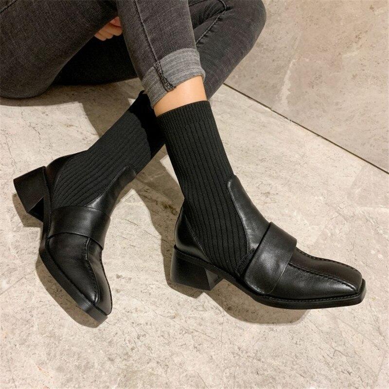 Модные полусапожки; элегантные женские вечерние сапоги с квадратным носком и змеиным узором; удобные женские сапоги на низком каблуке - 6