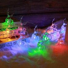 Красивый батарейный блок, светодиодный фонарь, гирлянда, гирлянда, Рождественский олень, день рождения, праздник, вечерние, креативный, IP65, 10 светодиодный/20 светодиодный