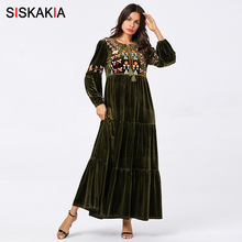 Siskakia Velvet Casual Swing Purple Floral Embroidered Maxi Dresses Tassel Drawstring O Neck Puff Sleeve Clothes