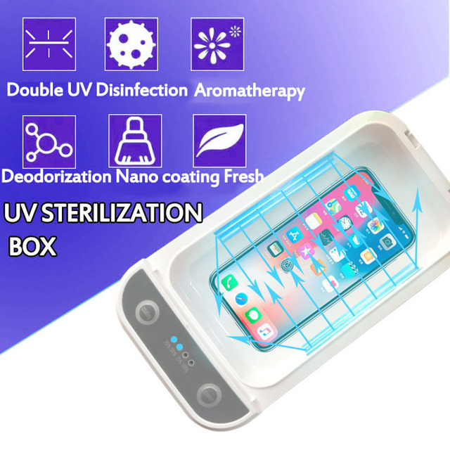 5V Double UV Phone Sterilizer Box Jewelry Phones Cleaner Personal Sanitizer Disinfection Box Phone box with Aromatherapy 3