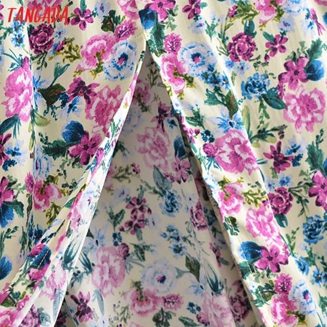 Tangada 2021 Fashion Women Flowers Print Back Lace Up Long Dress Sleeveless Backless Female Casual Dress 3H447 4