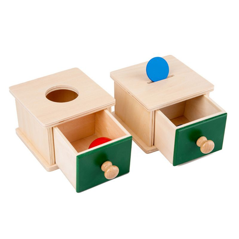 Infant Toddler Wooden Coin Ball Matching Box Montessori Tools For Baby Children P31B