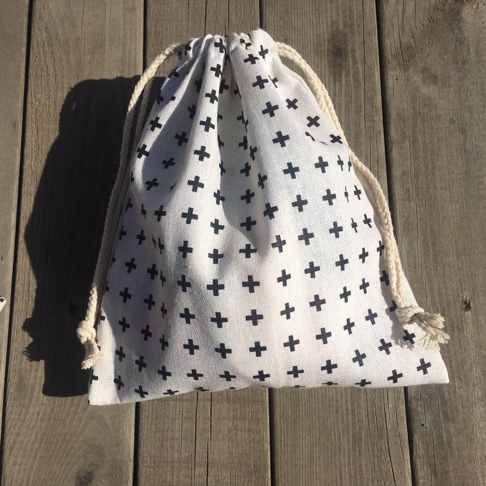 1pc Cotton Linen Drawstring Pouch Party Gift Bag Print Black Cross YL420a