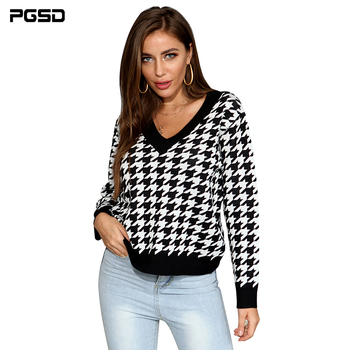 PGSD New Autumn winter Women Sweater houndstooth Black white V-neck Casual Simple fashion Long sleeves knitting Pullover Top