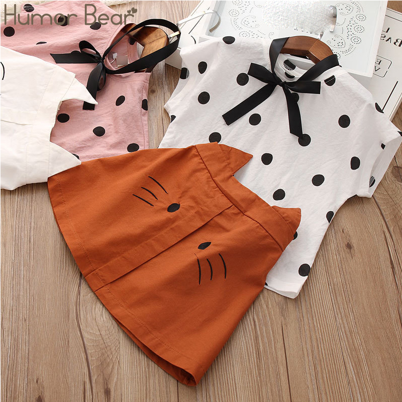 H26b99a8690a6400285b3338babab2da3g Humor Bear Girls Clothing Set 2020 Korean Summer New Ice Cream Bow T-shirt+Pants Kids Suit Toddler Baby Children's Clothes