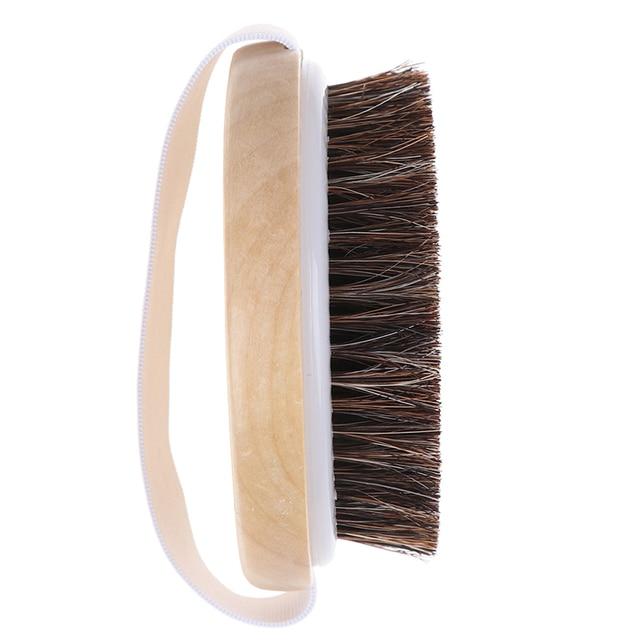 1PCS Body Massage Brush Cellulite Shower Exfoliation Hot Wood Natural Horse Hair Bath Body Brush Dry Skin Brushing 1