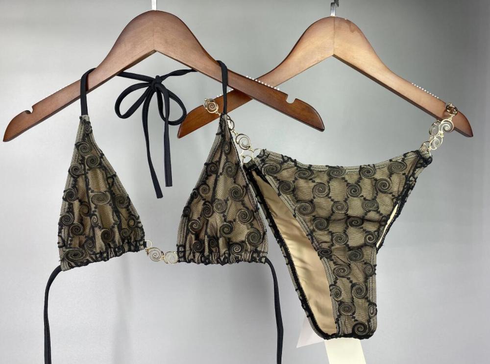 Mulheres tule conjunto biquinis meninas cadeias de ouro halter maiô marca luxo design maiô monokini maillot de bain