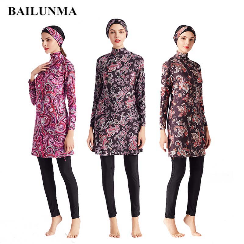 Muslim Swimwear Lady Burkinis Islamic Women Modest Hijab Swimming set Bathing Suit Beach Full Coverage Floral Women Swimsuit