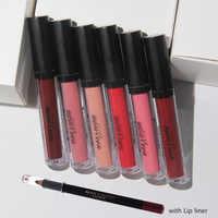 Batom de maquiagem labial com conjunto de lápis à prova dwaterproof água longa duração matiz sexy vermelho nude lábio gloss labial liner beleza fosco batom conjunto
