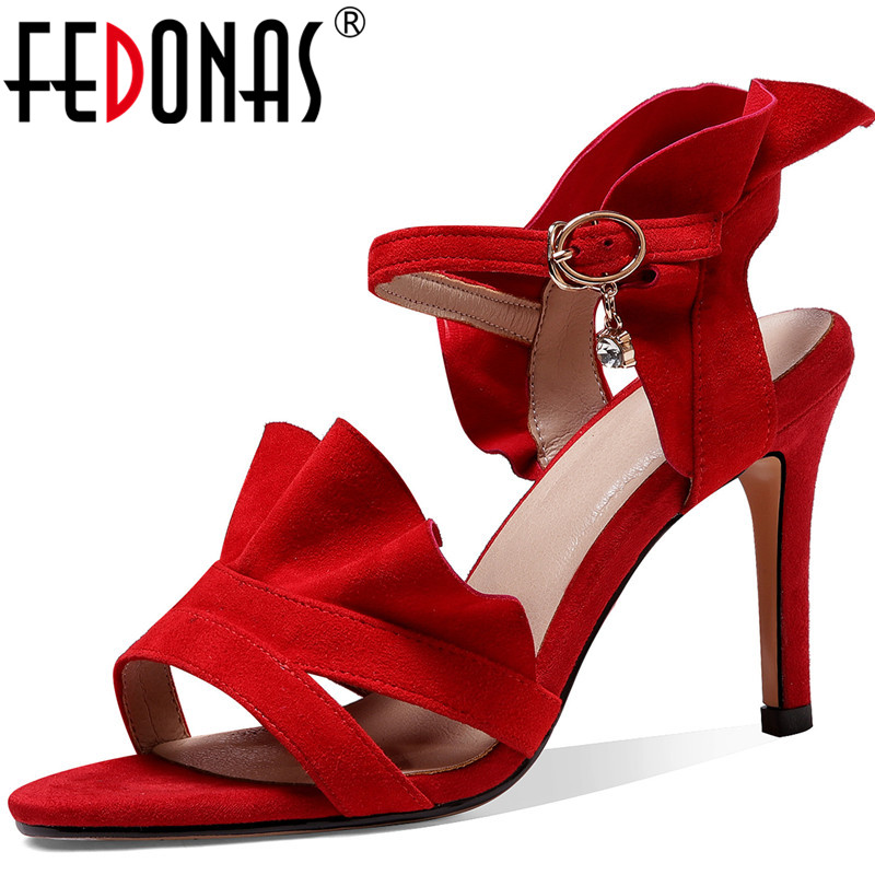 FEDONAS New Fashion Spring Summer Classic Women Genuine Leather Party Rhinestone Prom Pumps High Heels Sexy Shoes Woman