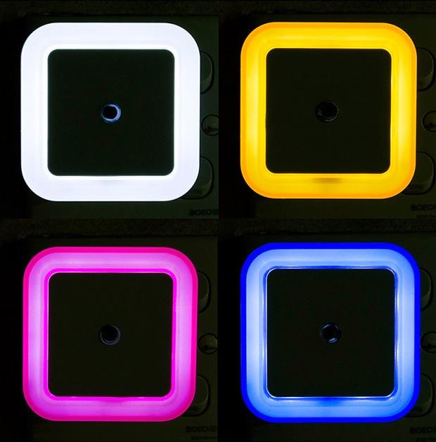 Light Sensor Control Night Light Mini EU US Plug Novelty Square Bedroom Lamp For Romantic Colorful Lights Dropshipping