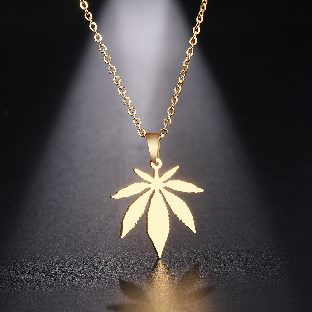 DOTIFI Stainless Steel Necklace For Women Man Maple Leaf Choker Pendant Necklace Engagement Jewelry 2