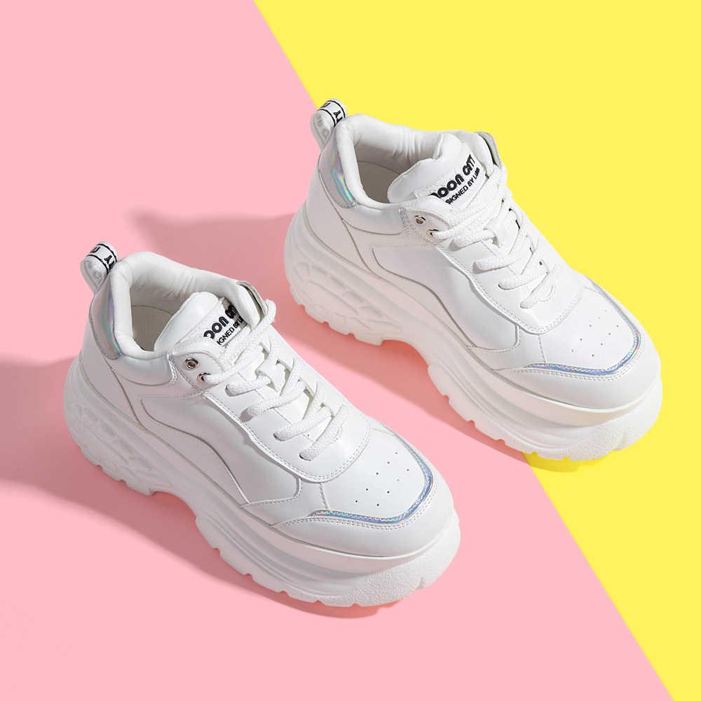 รองเท้าผู้หญิง 2019 รองเท้า Chunky รองเท้าผ้าใบผู้หญิง Vulcanize รองเท้า Femme แพลตฟอร์มรองเท้าผ้าใบ Casual รองเท้าผู้หญิงยี่ห้อรองเท้าผ้าใบ