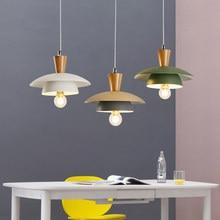 купить Modern nordic minimalist pendant light creative wood deco LED hanging light for bedroom kitchen dinner room cafe room lamp e27 по цене 2963.47 рублей